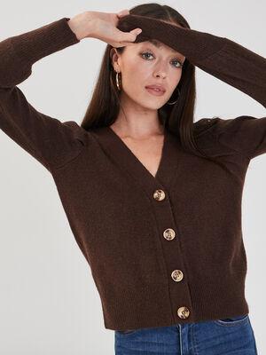 Gilet avec epaules froncees marron fonce femme