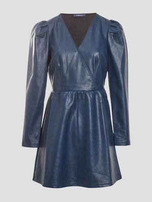 Robe evasee col effet croise bleu petrole femme
