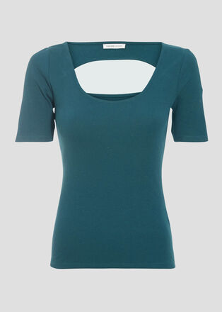 T shirt manches courtes vert fonce femme