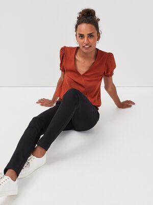 T shirt manches courtes smocke marron cognac femme