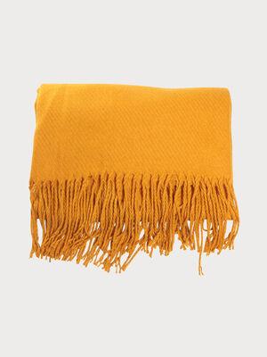 charpe a franges jaune moutarde femme