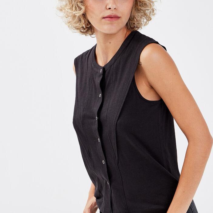 Chemise sans manches noir femme