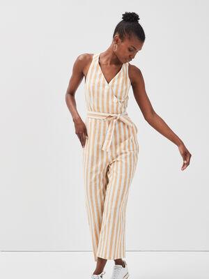 Combinaison pantalon ceinturee blanc femme
