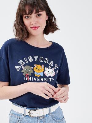T shirt Les Aristochats bleu marine femme
