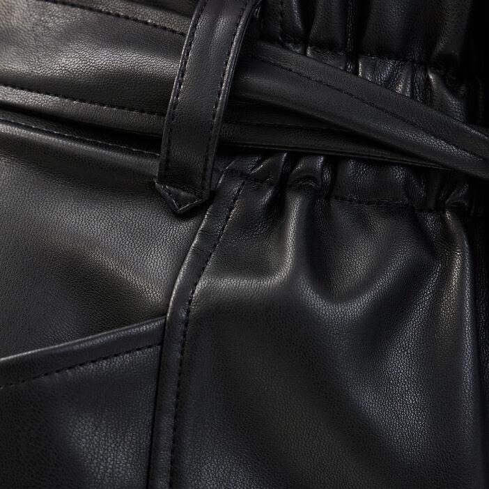 Short paperbag similicuir noir femme