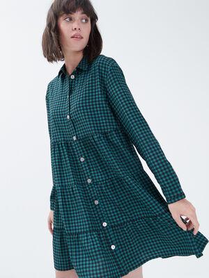 Robe evasee boutonnee vert femme