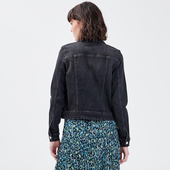 Veste droite en jean denim gris femme