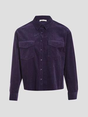 Chemise manches longues violet fonce femme