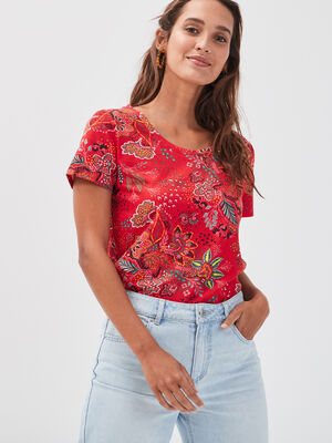 T shirt manches courtes rouge femme