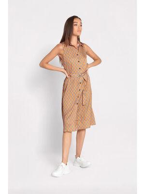 Robe longue chemise ceinturee camel femme