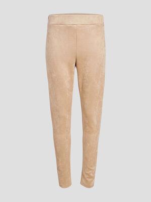 Pantalon etroit taille haute ecru femme