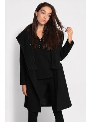 Manteau cintre a capuche noir femme