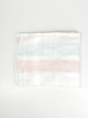 Foulard rectangulaire franges rose clair femme