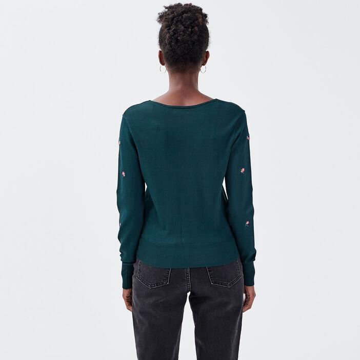 Gilet manches longues vert foncé femme