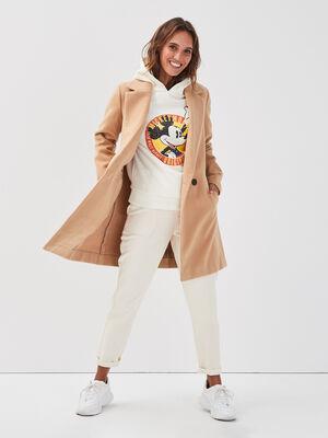 Manteau cintre col crante sable femme