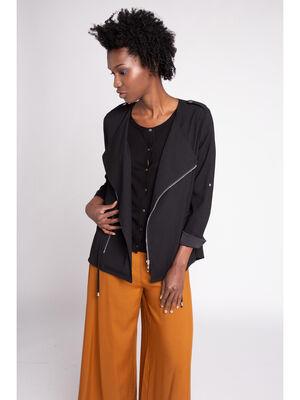 Veste zip asymetrique unie noir femme