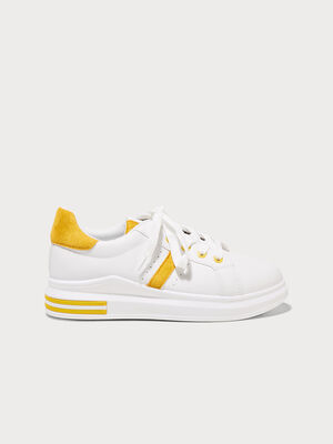 Baskets plates mi compensees jaune femme