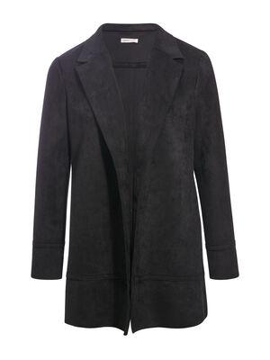 Manteau droit effet suedine noir femme