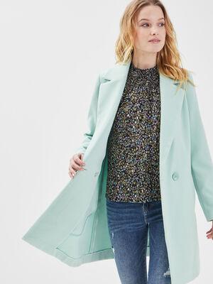 Manteau cintre col crante vert clair femme