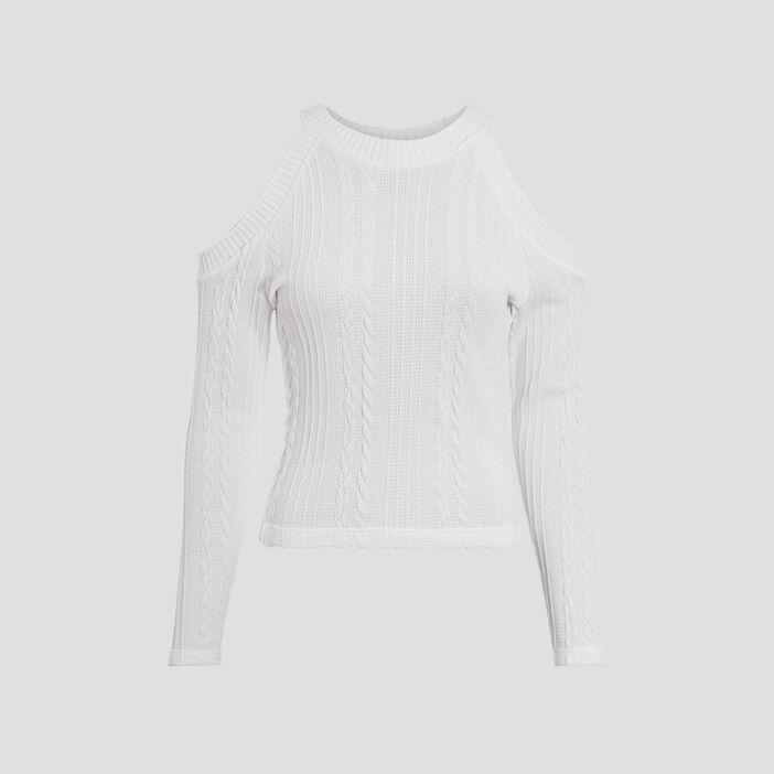 Sweat avec épaules dénudées blanc femme