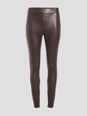 Legging similicuir marron fonce femme