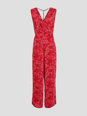 Combinaison pantalon large rouge femme
