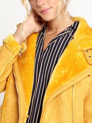 Blouson style motard peau retournee jaune or femme