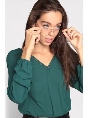 Blouse manches longues vert fonce femme