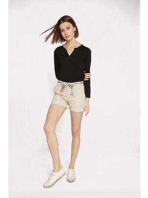 Short droit ceinture beige femme