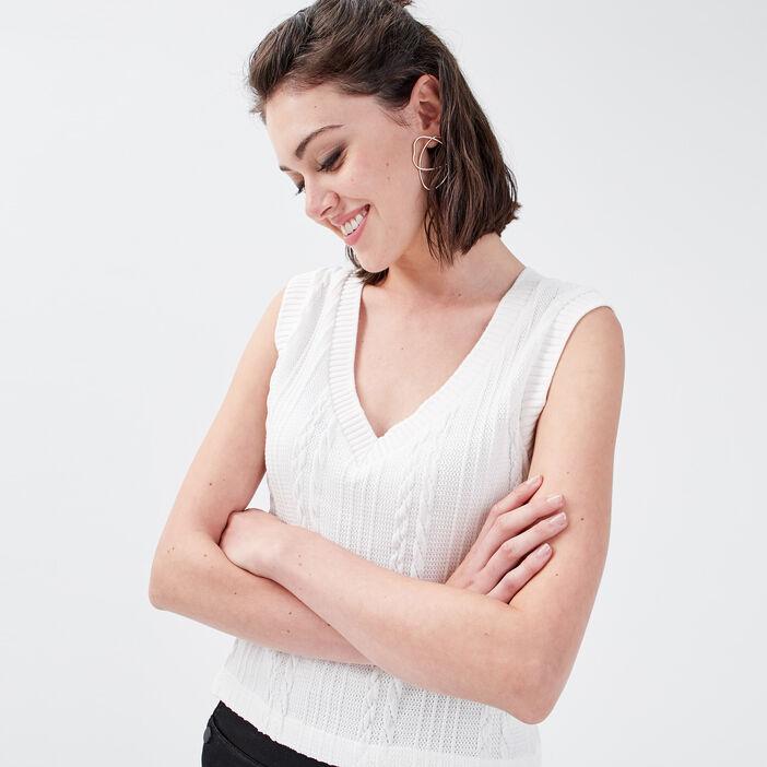 Sweat sans manches torsadé blanc femme