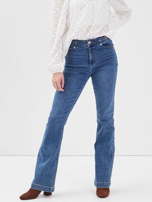 Jeans flare avec ornements denim brut femme