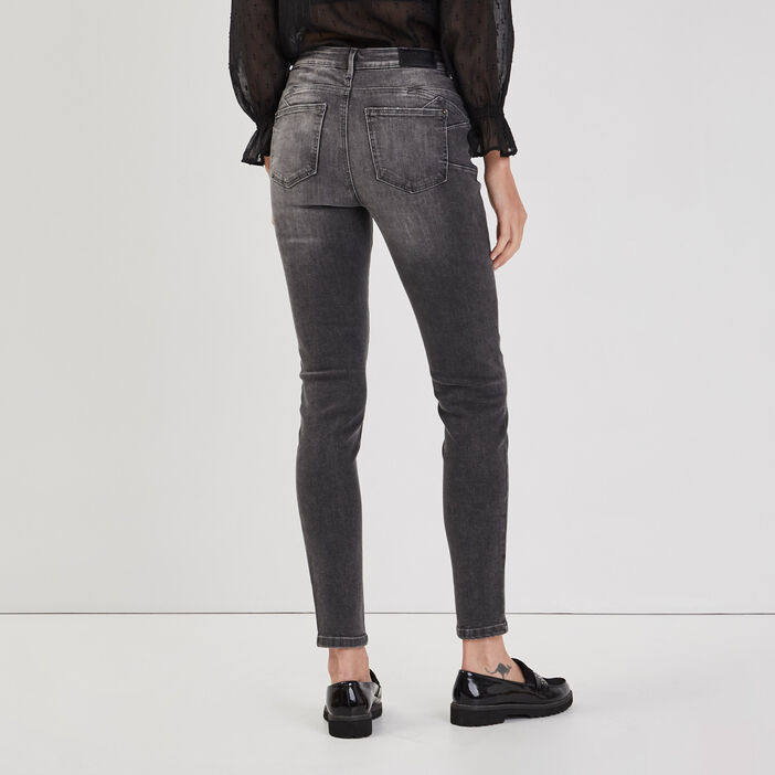 Jeans skinny push-up denim gris femme