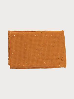 Foulard details dores jaune moutarde femme