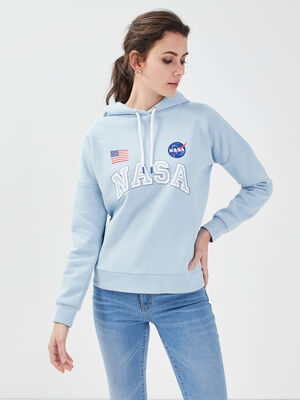 Sweat a capuche NASA bleu pastel femme