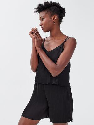 Combishort droite plissee noir femme