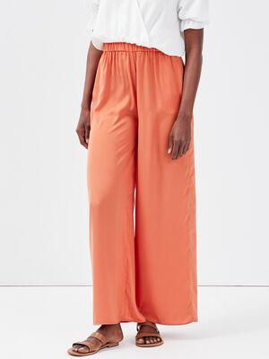 Pantalon large fluide satine terracotta femme