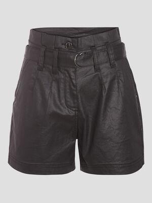 Short droit ceinture enduit denim noir enduit femme