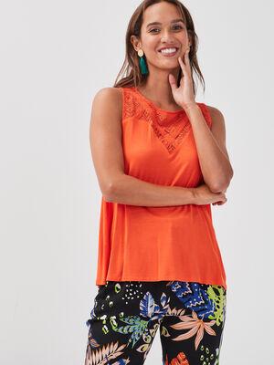 Debardeur bretelles larges orange femme