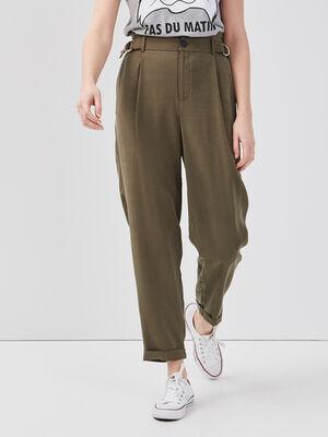 Pantalon droit boucle taille vert kaki femme