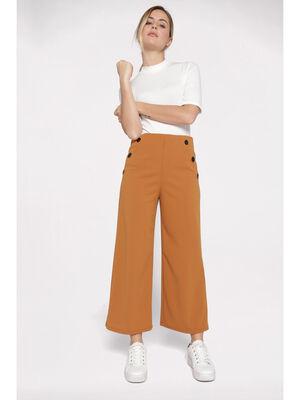Pantalon evase taille haute creme femme