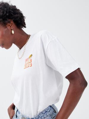 T shirt Le Roi lion blanc femme