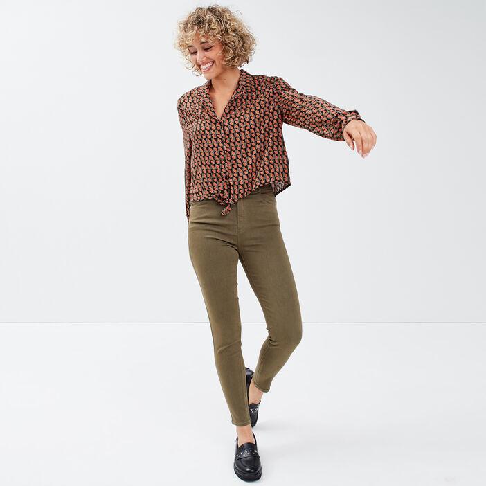 Chemise manches longues vert femme