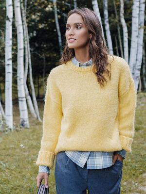 Pull tunique jaune femme