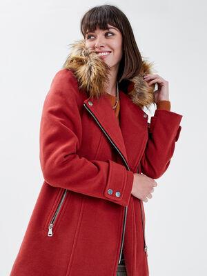 Manteau droit avec capuche rouge fonce femme