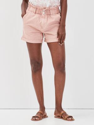 Short ample elastique en jean rose femme