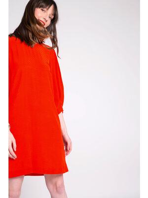 Robe droite manches bouffantes orange femme