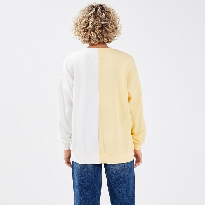 Sweat manches longues jaune pastel femme