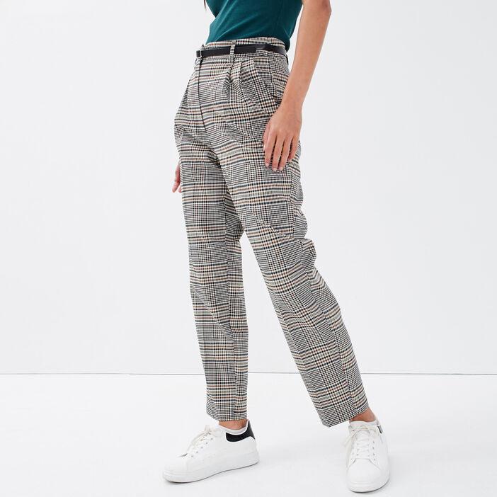 Pantalon slim ceinturée blanc femme