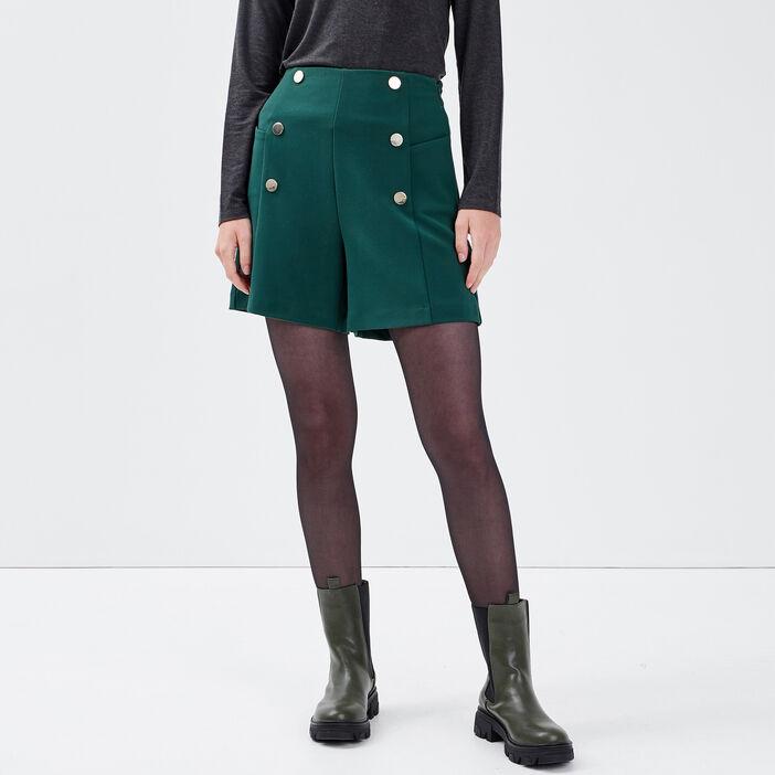 Short droit avec boutons vert foncé femme