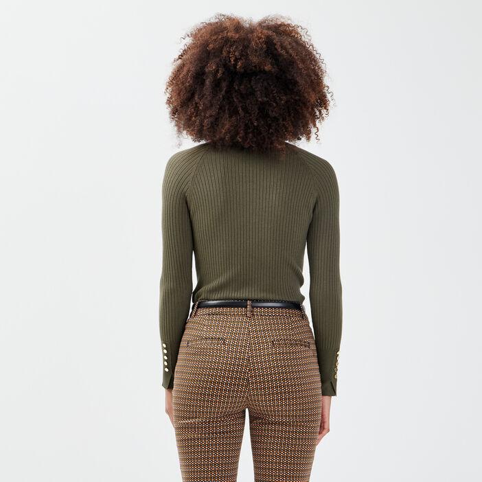 Pull manches longues côtelé vert kaki femme